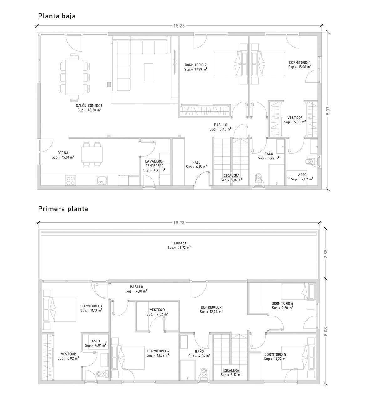 planos de casas con 6 dormitorios