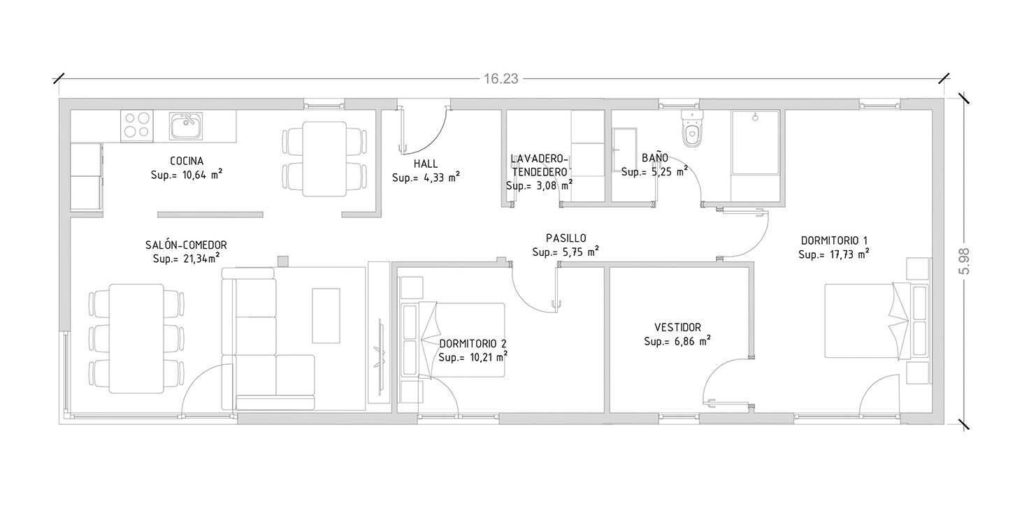 Cube Basic 100 m2 - 2 dormitorios