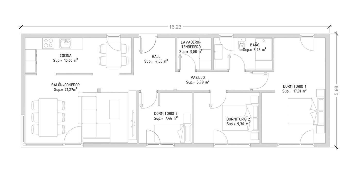 Cube Basic 100 m2 - 3 dormitorios