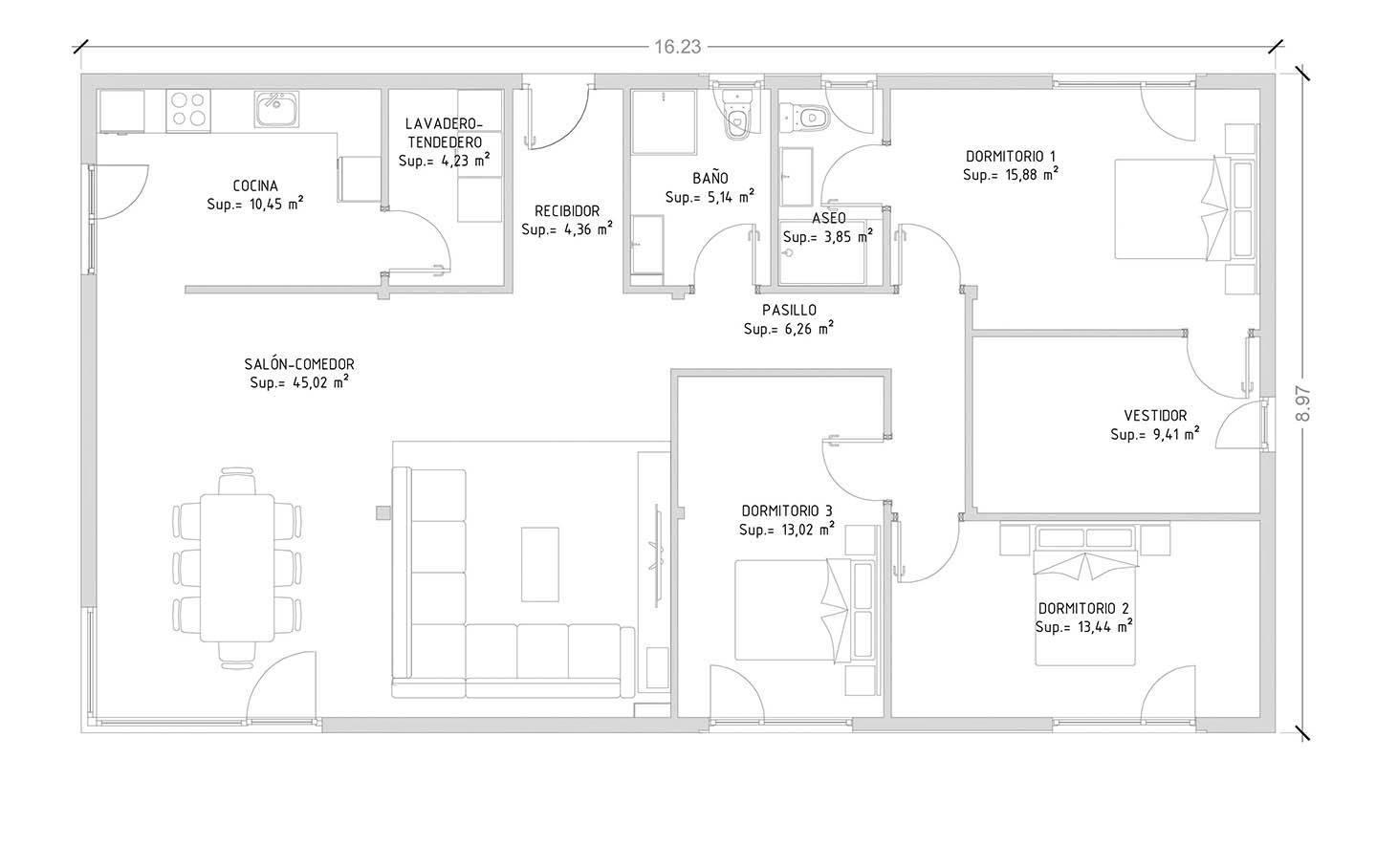 Cube 150 m2 - 3 dormitorios