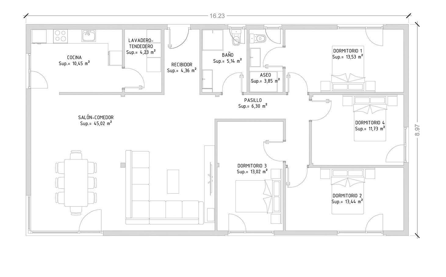 Cube Basic 150 m2 - 4 dormitorios