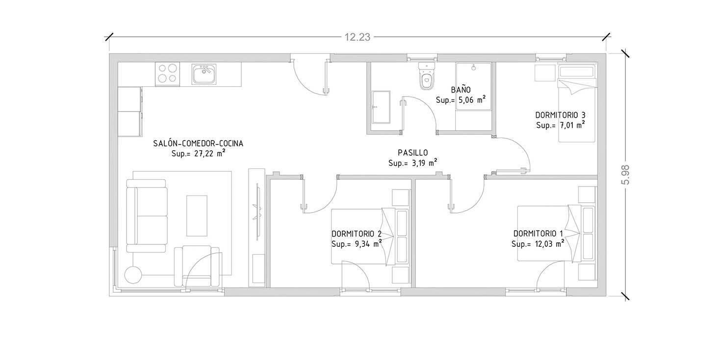 Cube 75 m2 - 3 dormitorios