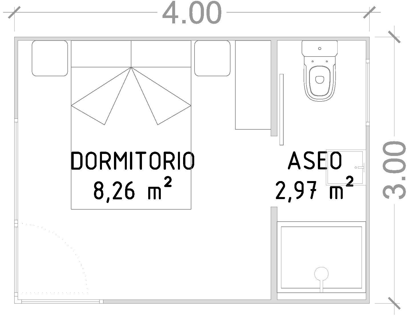 Módulo 12 m2 con baño