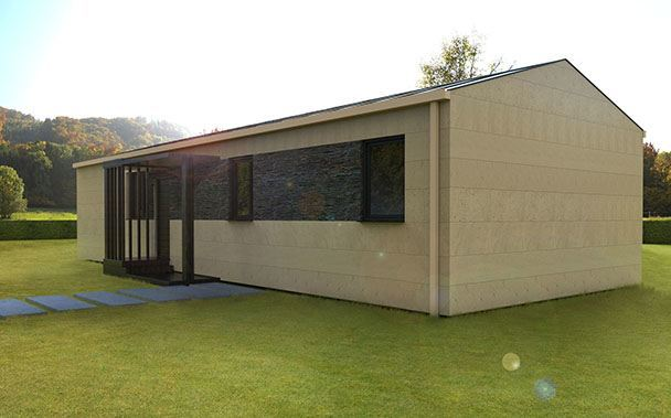 Casa prefabricada modular cubierta a dos aguas, fachada