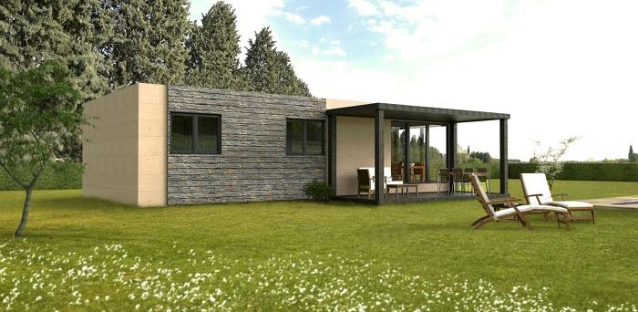Casa prefabricada modular 75 m2, trasera