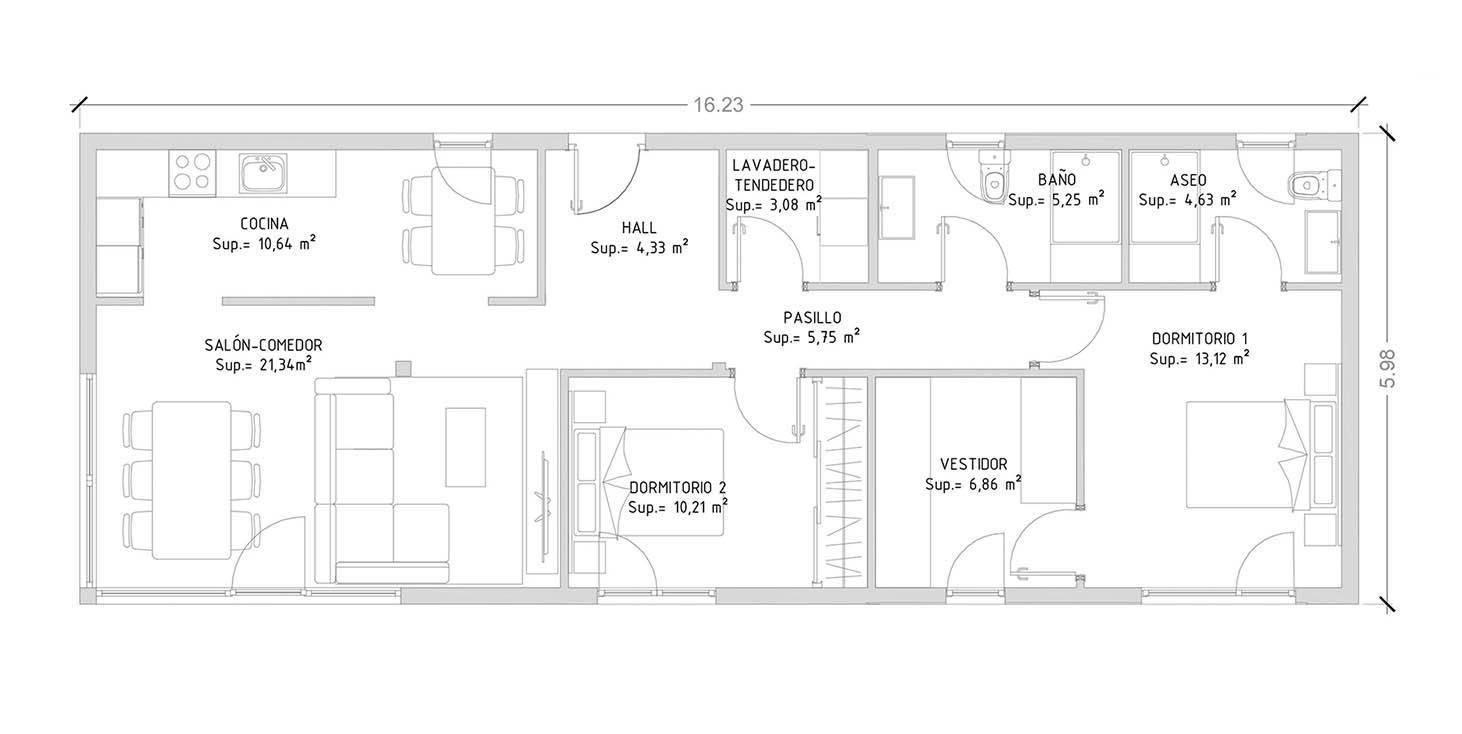 Cube 100 m2 casas prefabricadas y modulares cube for Cuanto cuesta pintar un piso de 100 metros