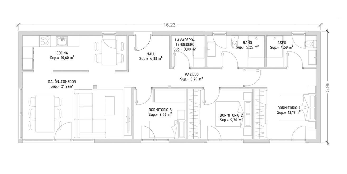 Cube 100 m2 casas prefabricadas y modulares cube Planos de casas de 3 dormitorios