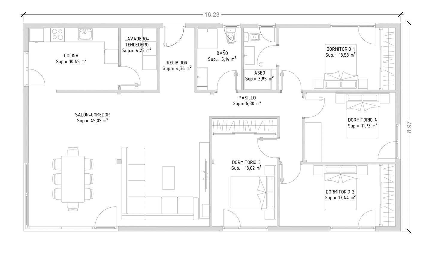 Cube 150 m2 casas prefabricadas y modulares cube for Planos de casas de una planta 4 dormitorios
