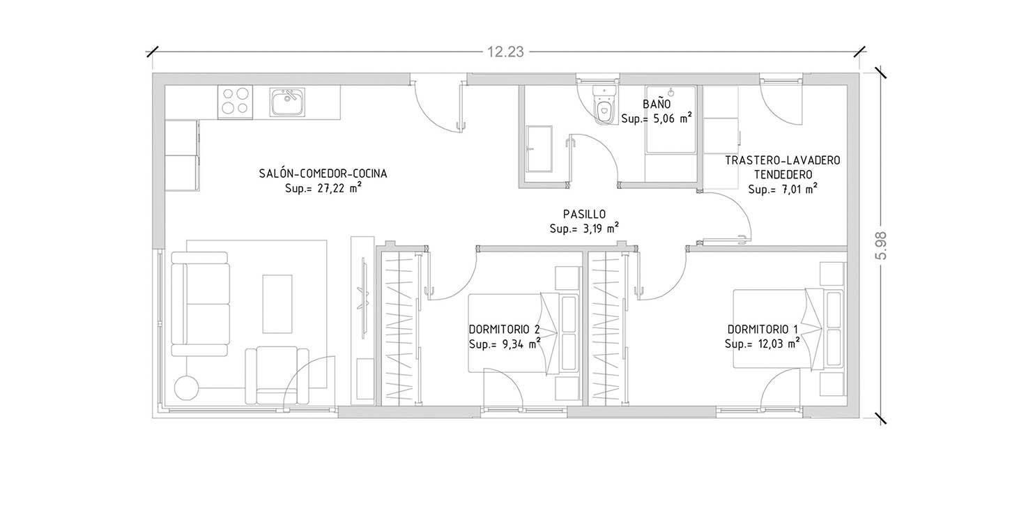 Cube 75 m2 casas prefabricadas y modulares cube for Planos de viviendas de 2 dormitorios