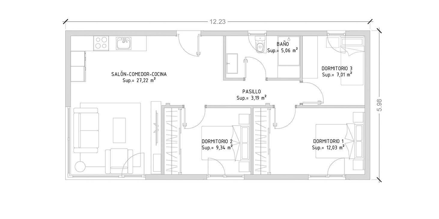 cube 75 m2 casas prefabricadas y modulares cube. Black Bedroom Furniture Sets. Home Design Ideas