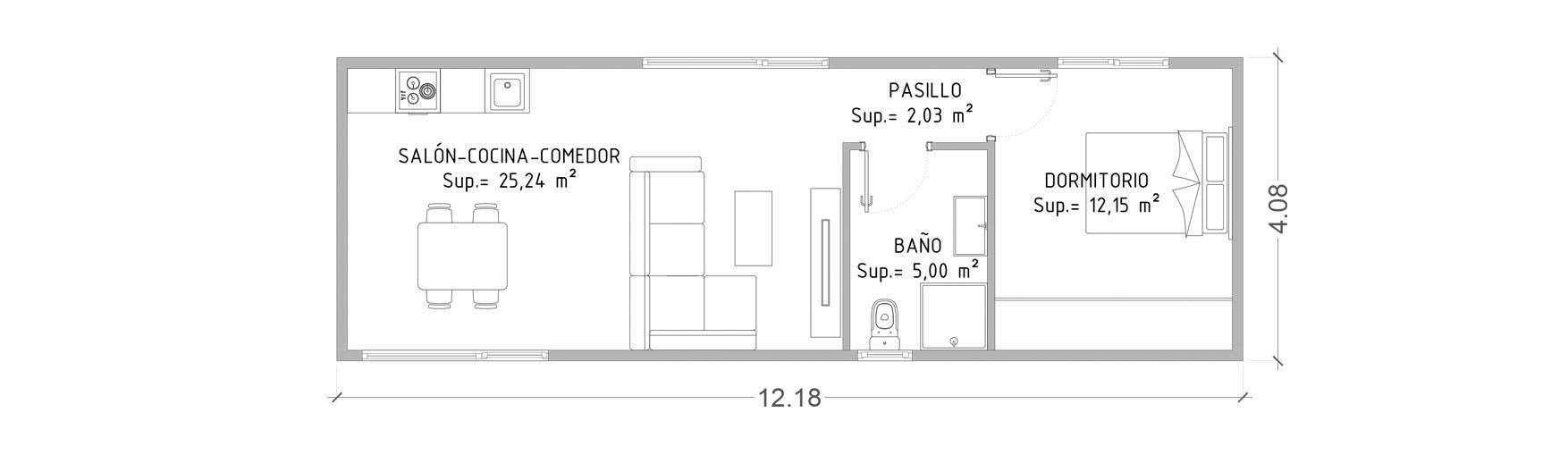 Modelo Cube Basic De 50 M2 Casas Prefabricadas Y