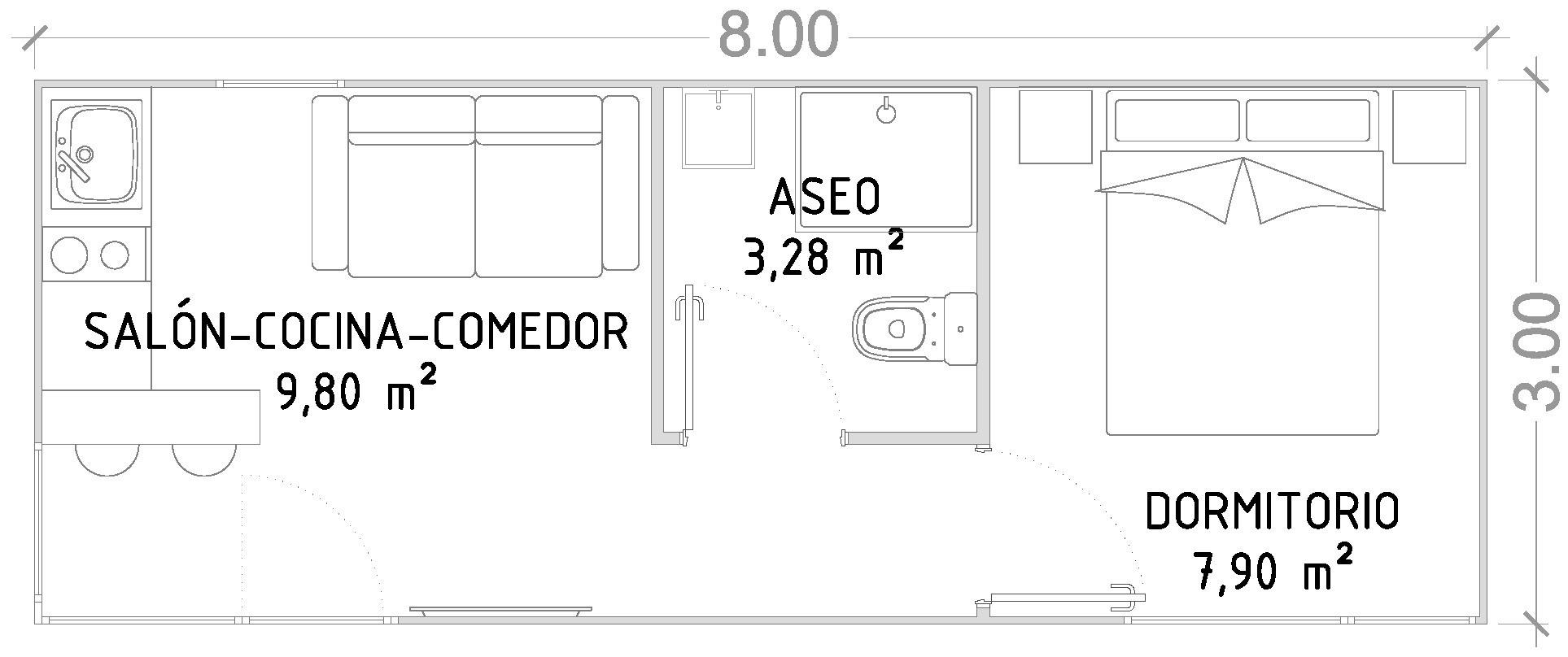 Módulo Basic 24 m2 – Casas prefabricadas y modulares Cube