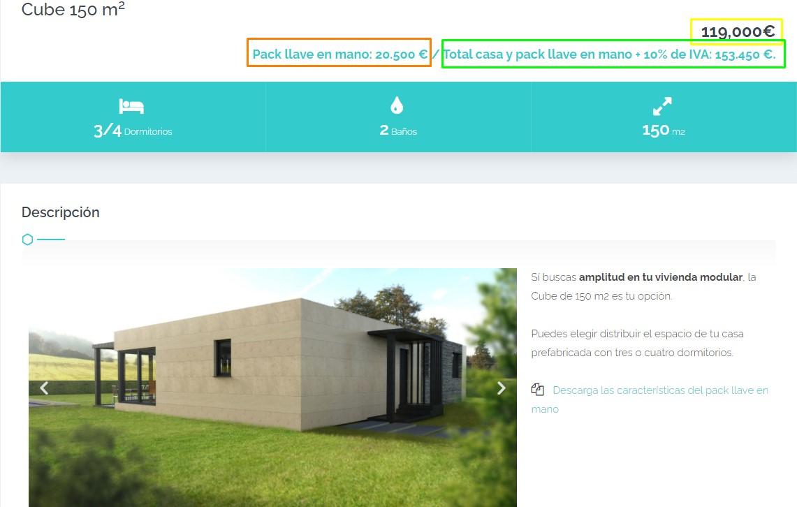 Precios cerrados de Cube para casas modulares en España