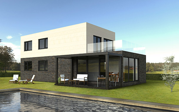 Cube 175 m2 casas prefabricadas y modulares cube - Precio m2 construccion chalet ...