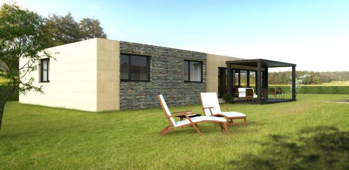 Casa prefabricada modular 150 metros, trasera
