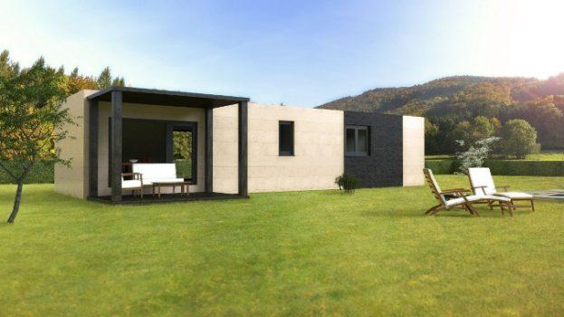Casa prefabricada modular 62 metros, trasera